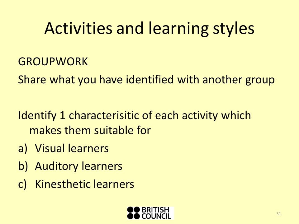 Activities and learning styles
