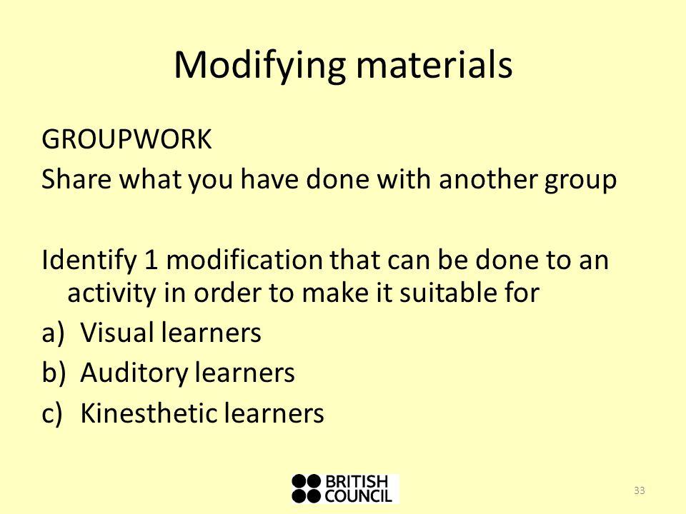 Modifying materials GROUPWORK