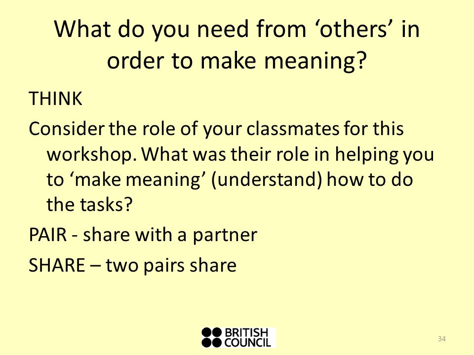 What do you need from 'others' in order to make meaning