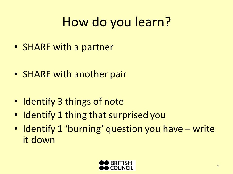 How do you learn SHARE with a partner SHARE with another pair