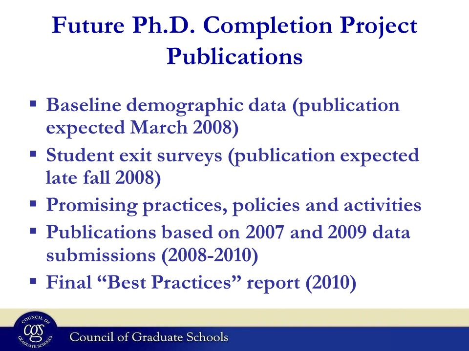Future Ph.D. Completion Project Publications