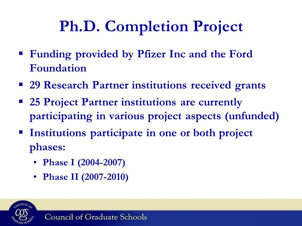 Ph.D. Completion Project
