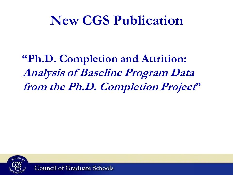 New CGS Publication Ph.D.