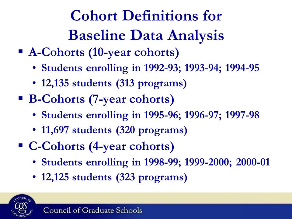 Cohort Definitions for Baseline Data Analysis