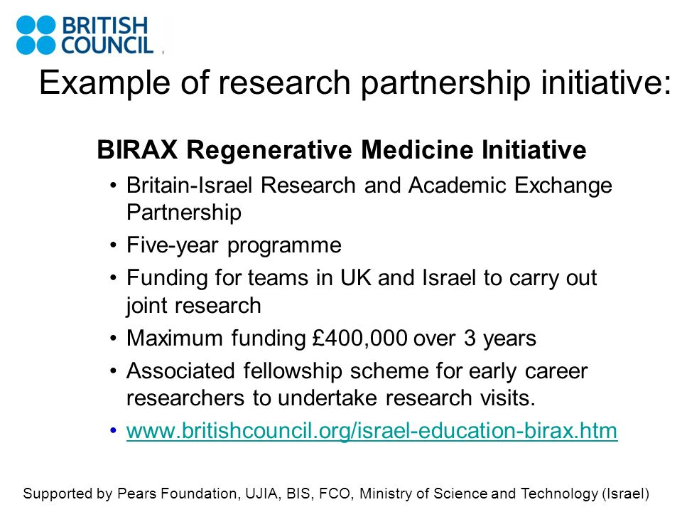 Example of research partnership initiative: