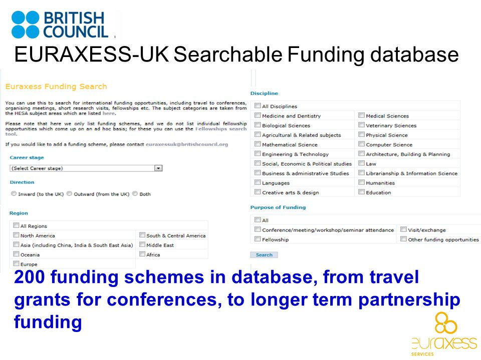 EURAXESS-UK Searchable Funding database
