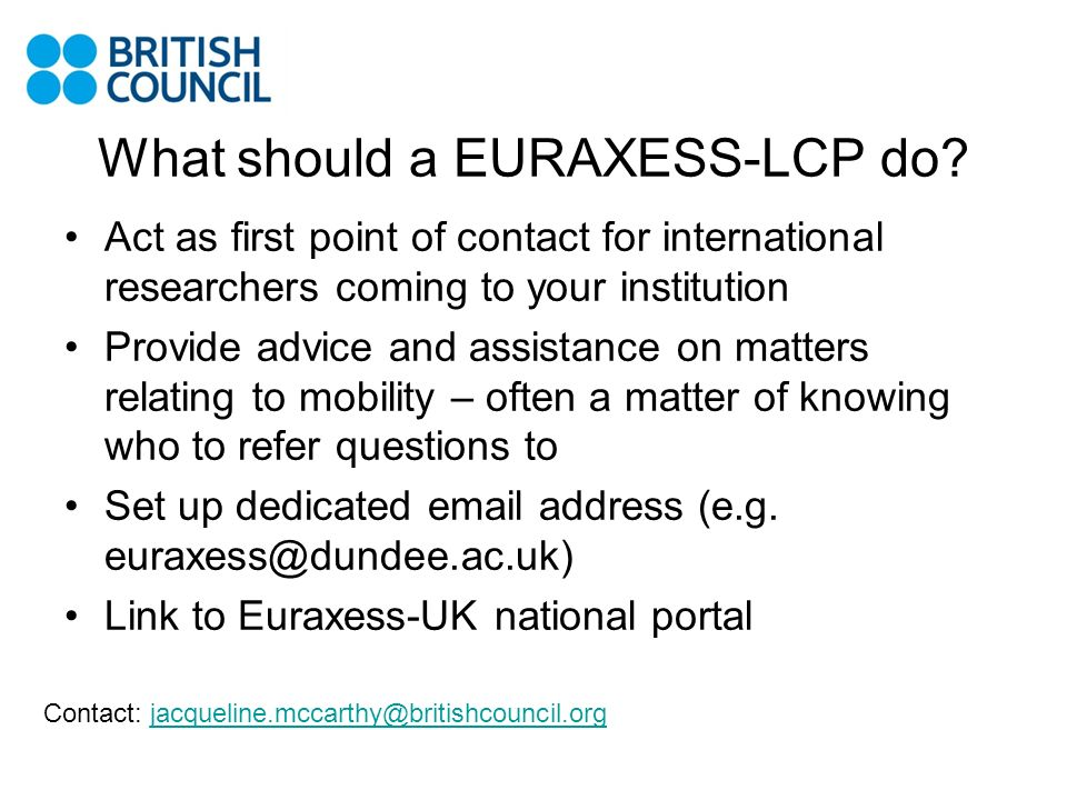 What should a EURAXESS-LCP do