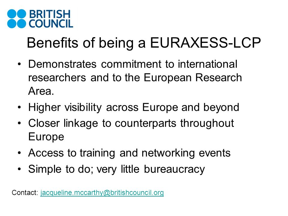 Benefits of being a EURAXESS-LCP