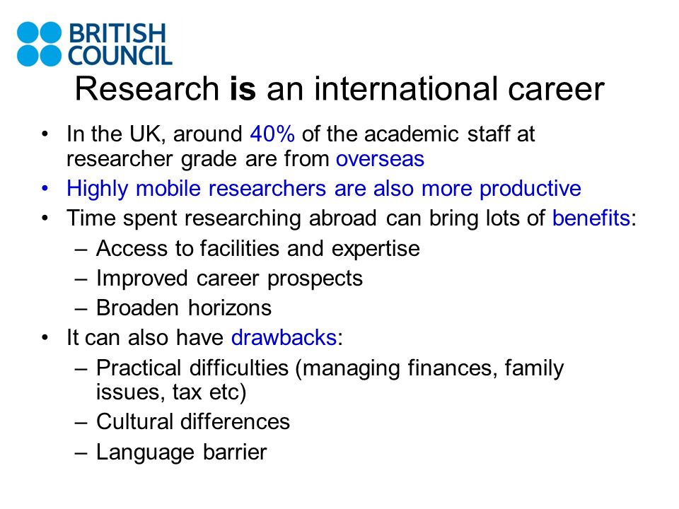 Research is an international career
