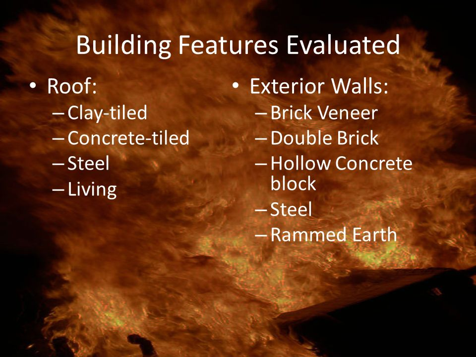 Building Features Evaluated