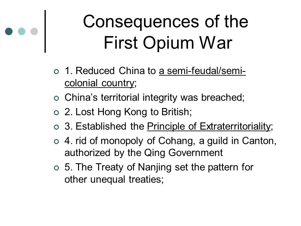 the causes and effects of the opium war in 1839 in china Learn more about the first and second opium wars between china and great britain  the first opium war was fought from march 18, 1839 to august 29,.
