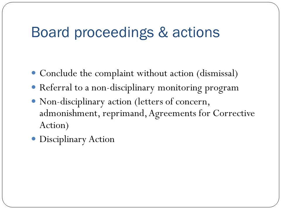 Board proceedings & actions