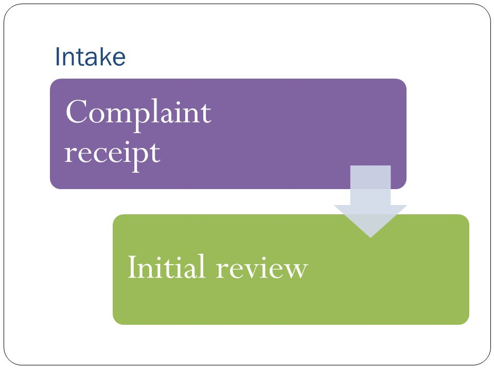 Complaint receipt Initial review Intake
