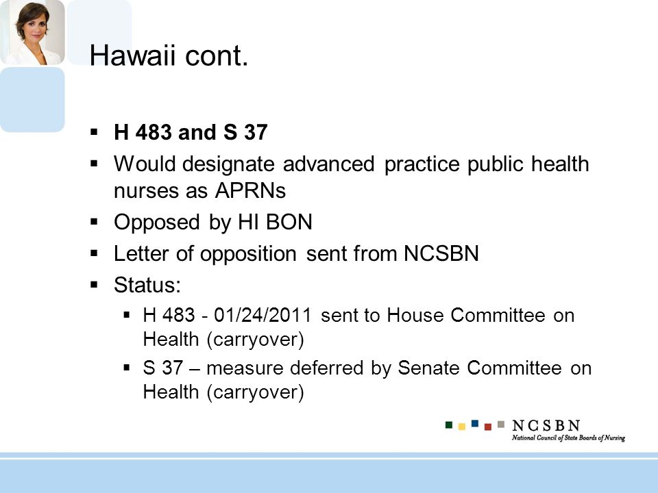 Hawaii cont. H 483 and S 37. Would designate advanced practice public health nurses as APRNs. Opposed by HI BON.