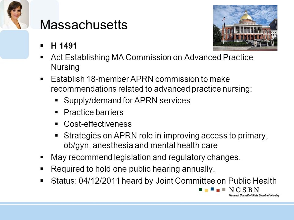 Massachusetts H 1491. Act Establishing MA Commission on Advanced Practice Nursing.