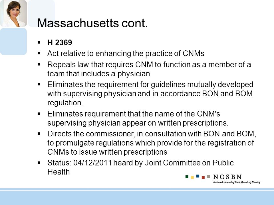 Massachusetts cont. H 2369. Act relative to enhancing the practice of CNMs.