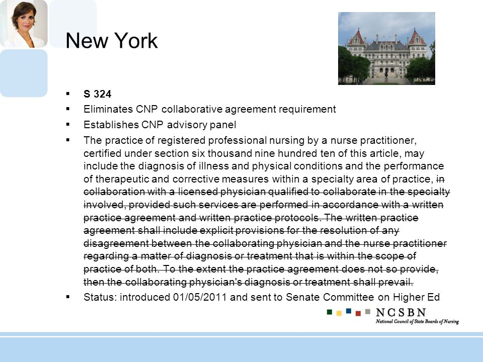 New York S 324 Eliminates CNP collaborative agreement requirement