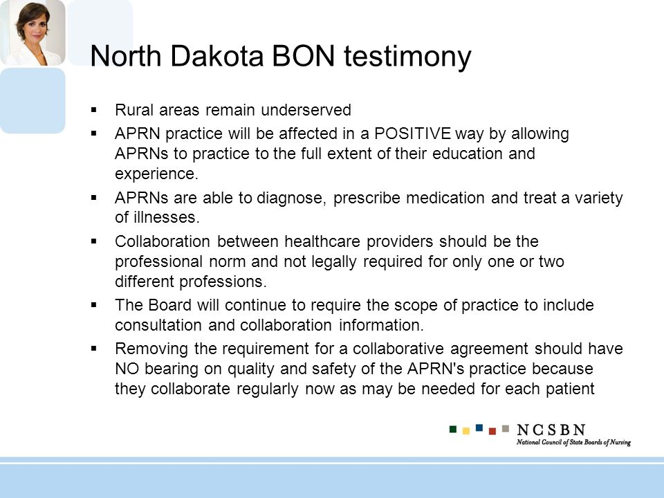 North Dakota BON testimony