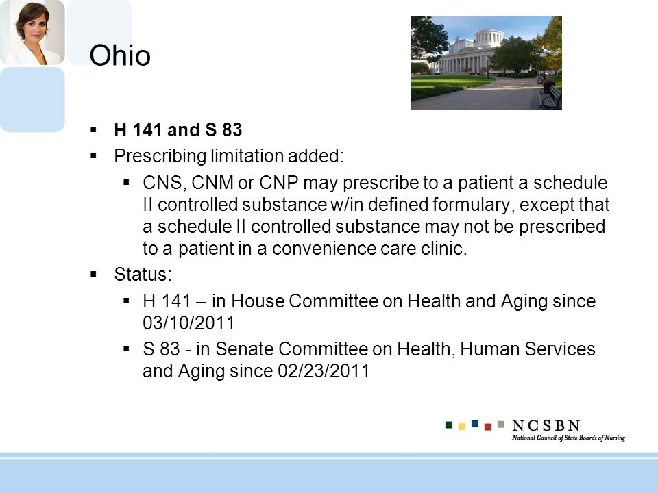 Ohio H 141 and S 83 Prescribing limitation added:
