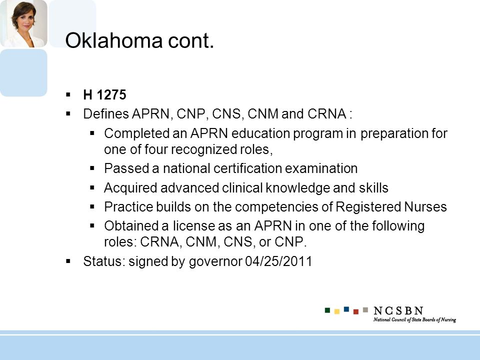 Oklahoma cont. H 1275 Defines APRN, CNP, CNS, CNM and CRNA :