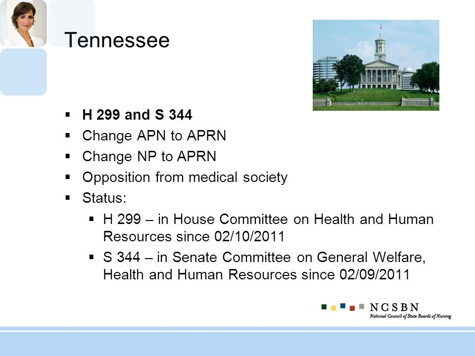 Tennessee H 299 and S 344 Change APN to APRN Change NP to APRN