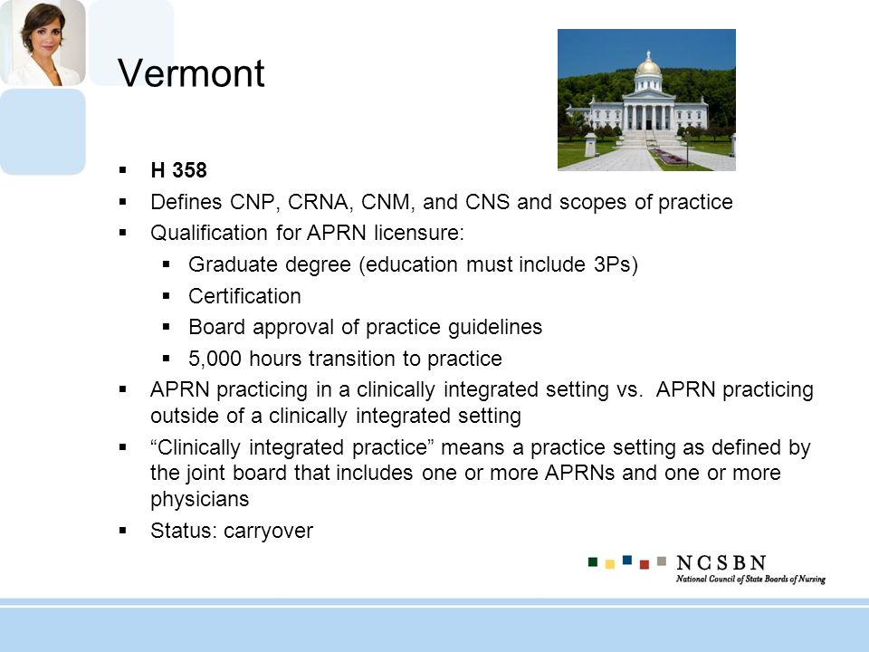 Vermont H 358 Defines CNP, CRNA, CNM, and CNS and scopes of practice