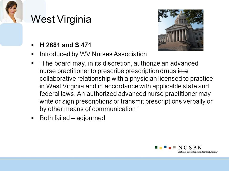 West Virginia H 2881 and S 471 Introduced by WV Nurses Association