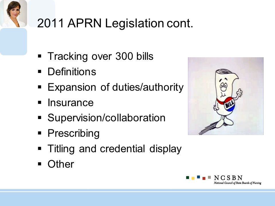 2011 APRN Legislation cont. Tracking over 300 bills Definitions
