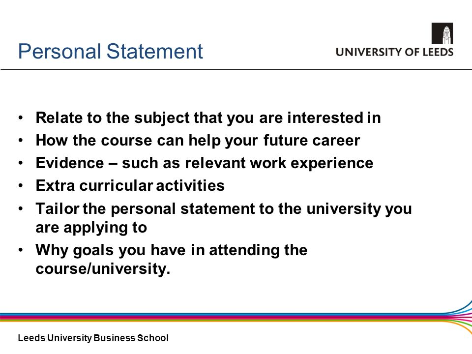 Personal Statement Relate to the subject that you are interested in