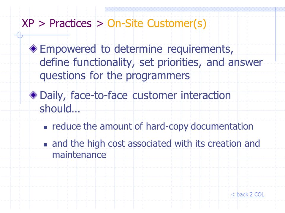 XP > Practices > On-Site Customer(s)
