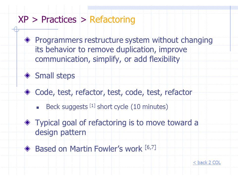 XP > Practices > Refactoring