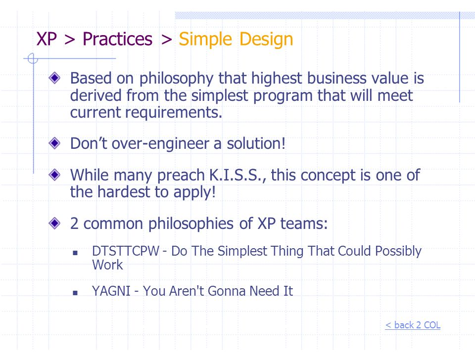 XP > Practices > Simple Design