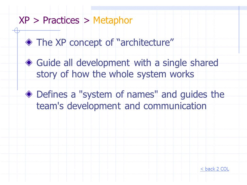 XP > Practices > Metaphor