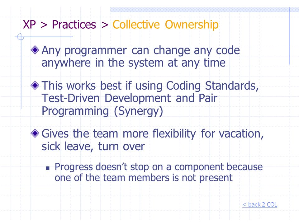XP > Practices > Collective Ownership
