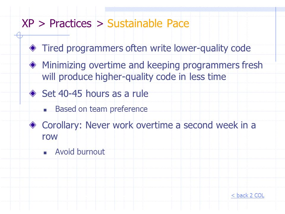 XP > Practices > Sustainable Pace