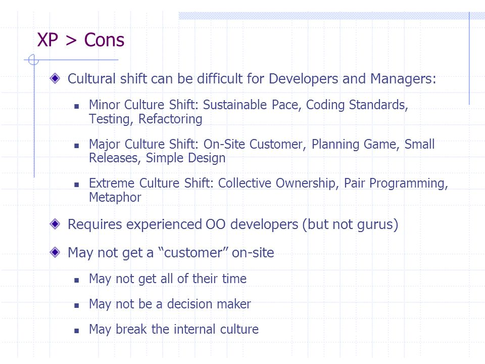 XP > Cons Cultural shift can be difficult for Developers and Managers: