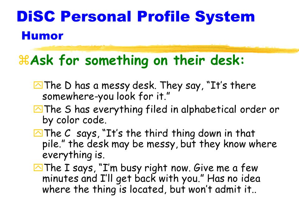 DiSC Personal Profile System Humor
