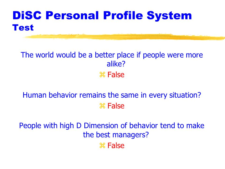 personal profile disc system Brief comparison of insights discovery vs disc description of disc disc or the personal profile system the disc system has four scales represented.