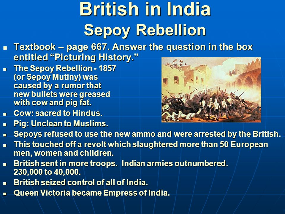 the sepoy rebellion Define sepoy mutiny sepoy mutiny synonyms, sepoy mutiny pronunciation, sepoy mutiny translation, english dictionary definition of sepoy mutiny noun 1 sepoy mutiny - discontent with british administration in india led to numerous mutinies in 1857 and 1858 the revolt was put down after several.