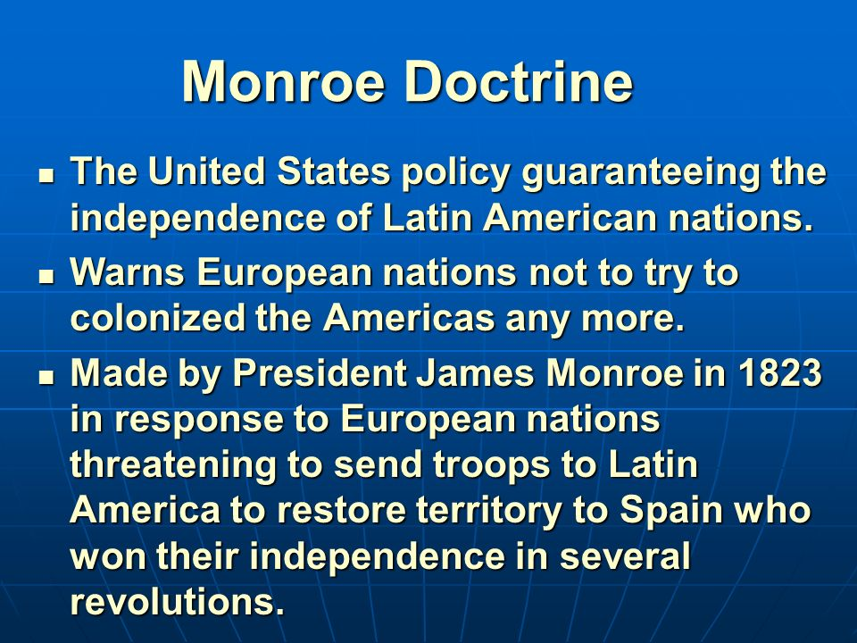 monroe doctrine and us latin america relations To what extent should the united states be proud of its policies towards latin america , the monroe doctrine is but one example of that.