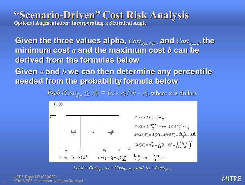 Prob (CostSys < x) = (x - a)/(b - a), where x is dollars