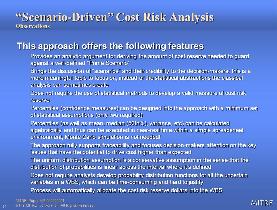 Scenario-Driven Cost Risk Analysis Observations