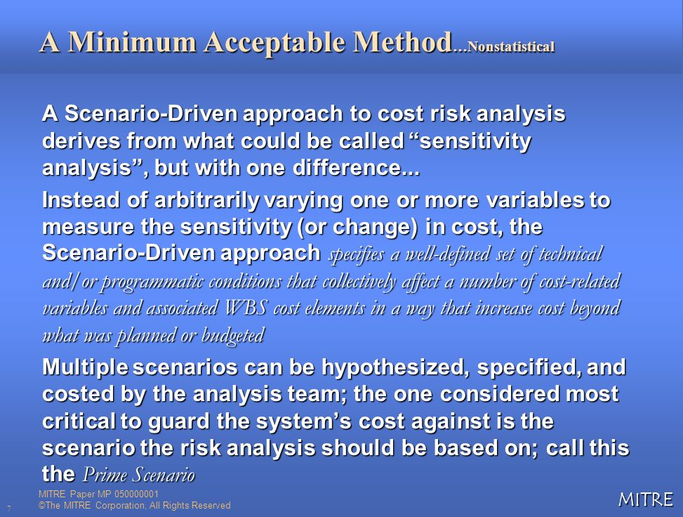 A Minimum Acceptable Method…Nonstatistical