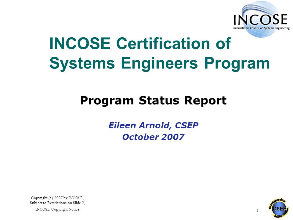 INCOSE Certification of Systems Engineers Program