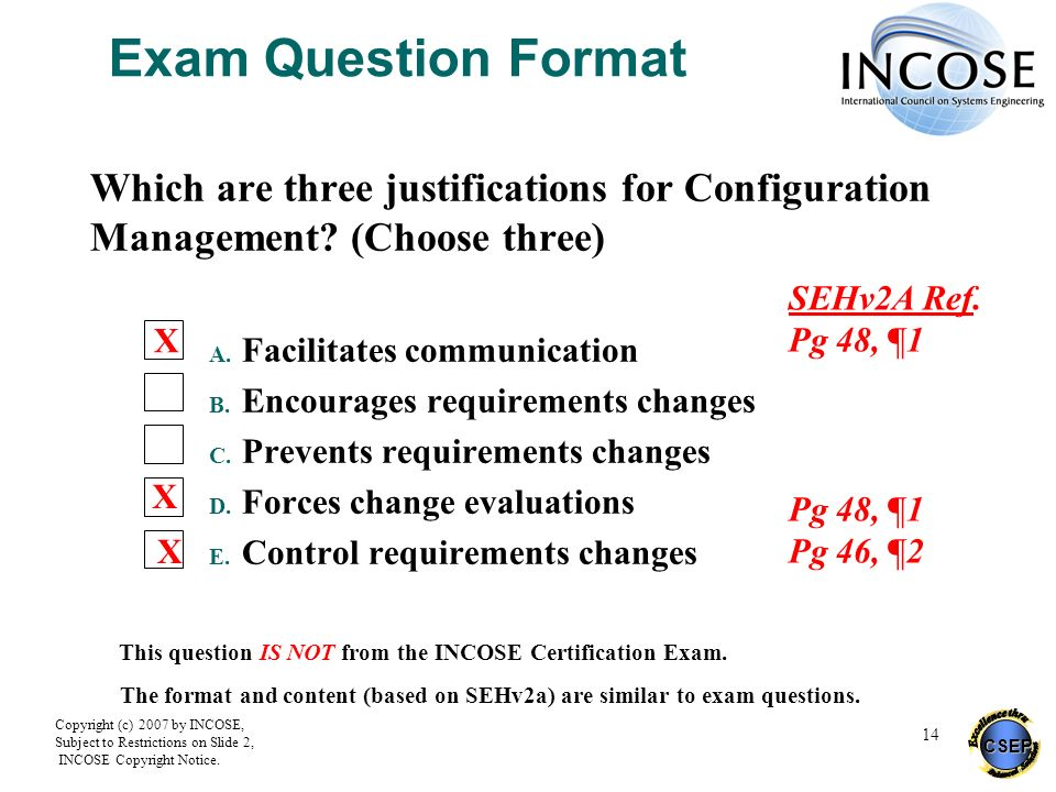 Exam Question Format Which are three justifications for Configuration Management (Choose three) Facilitates communication.