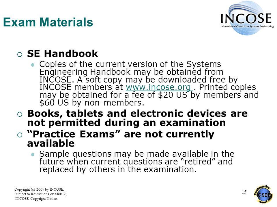 Exam Materials SE Handbook