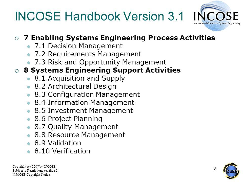 INCOSE Handbook Version 3.1