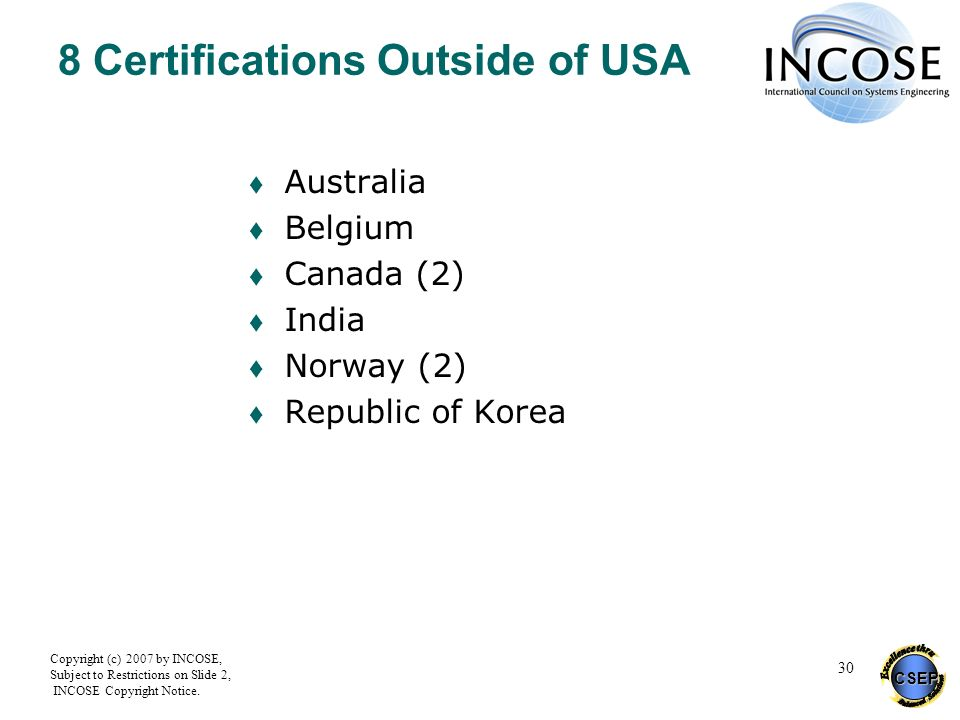 8 Certifications Outside of USA