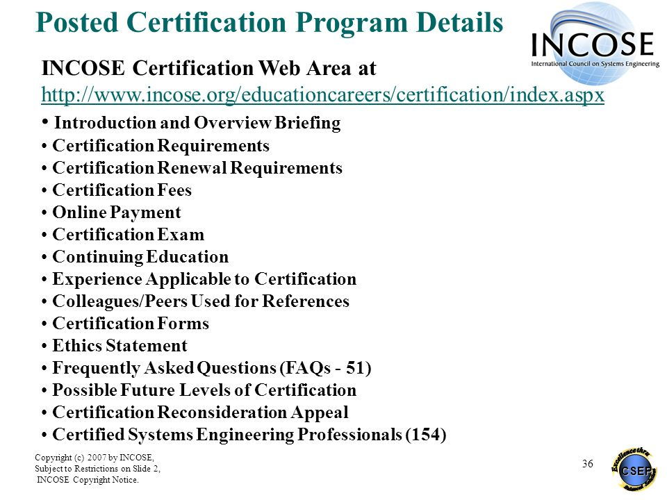 Posted Certification Program Details