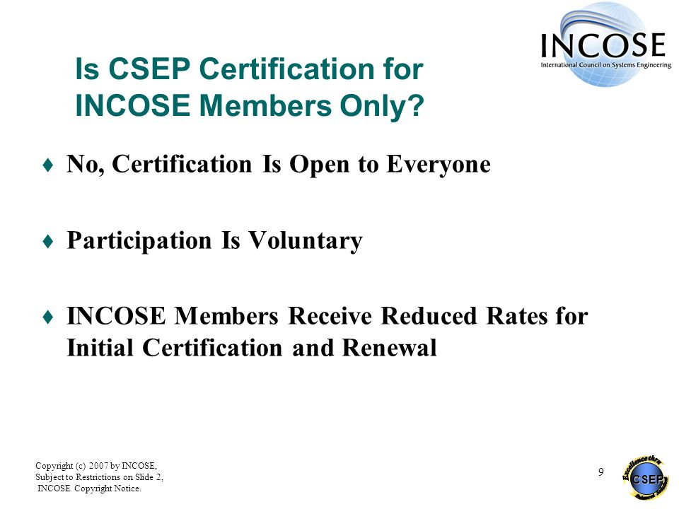Is CSEP Certification for INCOSE Members Only
